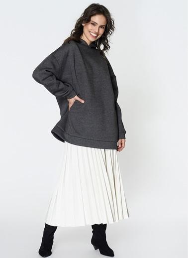 Loves You Kapüşonlu Oversize Şardonlu Sweatshirt Antrasit